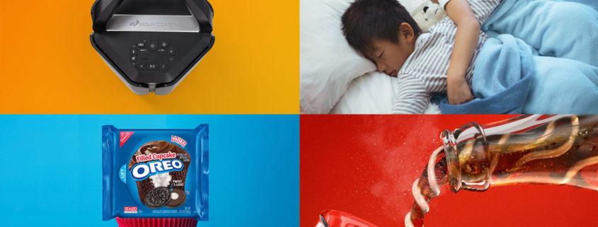 Soundcast, Sound of Sleep, Oreos, and Coca-Cola use color to establish a visual brand.