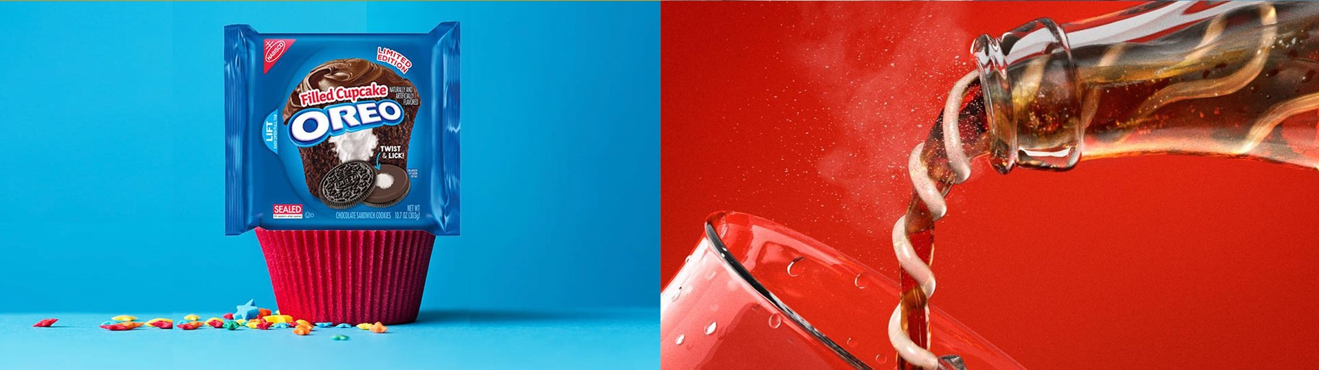 Oreo and Coca-Cola have bright, signature colors that they use in almost all of their collateral